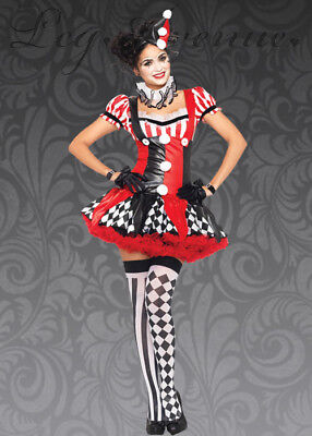 Harlequin Clown Costume Sexy Adult 3 Pc Red/Blk/Wht Dress Collar & Hat