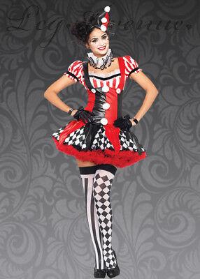 Harlekin Clown Kostüm Sexy Erwachsene 3 Stück Rot/Blk / Weiß Kleid Kragen & - Kragen Harlekin Kostüm