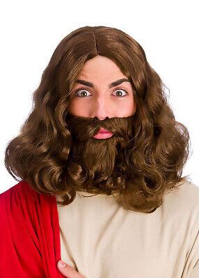 Jesus Style Brown Wig and Fake Beard Set - Fake Beard And Wig