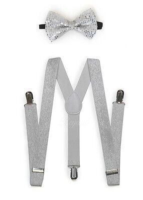 Silver Men Women Clip-on Suspender + Bow-Tie All Glitter Sequin Combo
