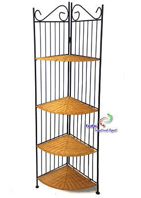 Metall Eckregal Gartenmöbel Regal mit 4 Ablageflächen Rattan ()