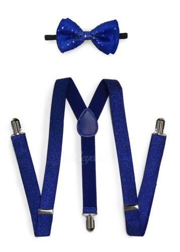 R-blue Men Women Clip-on Suspender + Bow-tie All Glitter Sequin Combo Adjustable