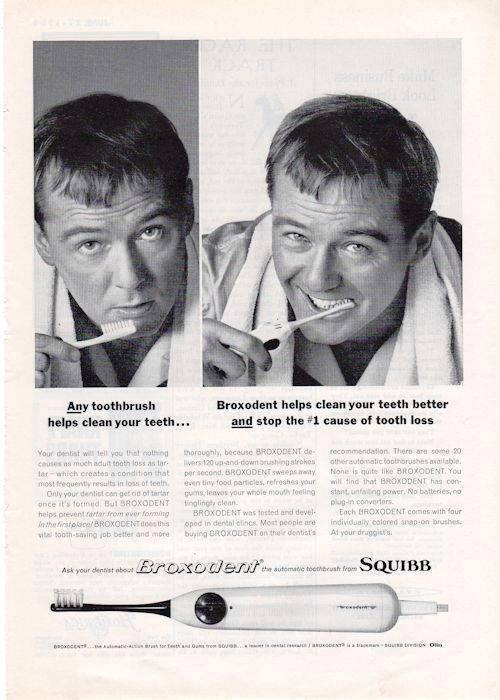 1964 Squibb Broxodent Tooth Brush Automatic  PRINT AD