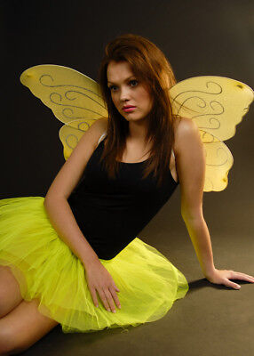 Lemon Yellow Glitter Butterfly Wings
