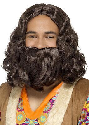 Brown Hippie Wig and Fake Beard Set - Fake Beard And Wig