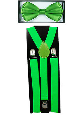 LIGHT GREEN SUSPENDERS and BOW TIE COMBO SET Unisex Adjustable Suspender Bowtie (Light Green Hosenträger)