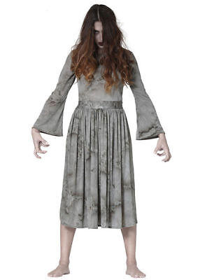 Halloween The Ring Fancy Dress Costume Girl Womens Phantom Ghost Horror Film