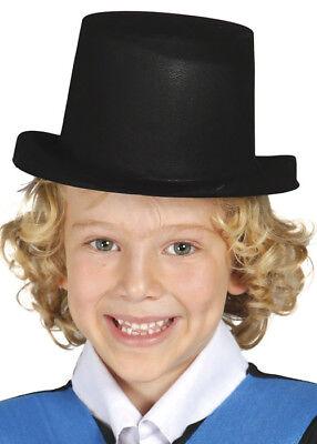 Child Size Top Hat (Childrens Size Black Flock Plastic Top)