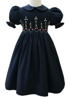 Baby Girls Smocked Classic Christmas Navy Dress for Portraits