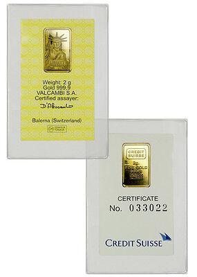 Credit Suisse   Statue Of Liberty 2 Gram  9999 Fine Gold Bar   Sealed Sku29460