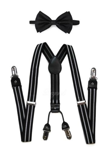 Adult Unisex Combo Deal 4 Clip-on Suspenders +  Bow-tie Adjustable Black/white