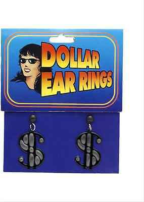 Black Dollar Sign Earrings Pimp Ho Silver Dress Up Halloween Costume Accessory](Dollar Sign Halloween Costume)