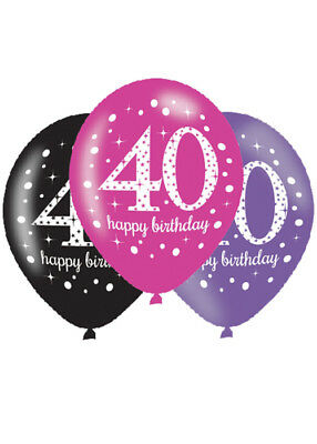 Pink and Black 40th Birthday Party Balloons Pk6 - Pink And Black Balloons