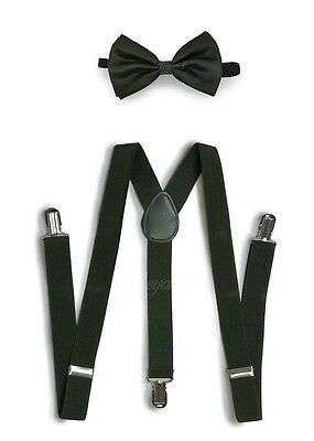 Hunter Green Suspender and Bow Tie Set for Adults Men Women Teenagers (USA)