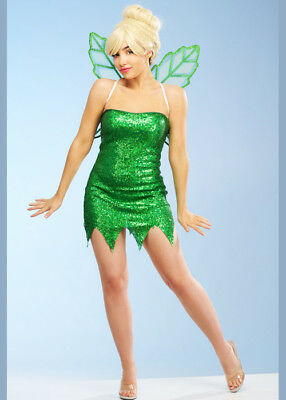 Tinkerbell Sequin Costume (Womens Tinkerbell Style Green Sequin Fairy)