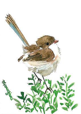 ACEO art card-Summer little bird, Art print of original watercolor, Fairy-wren Fairy Art Card