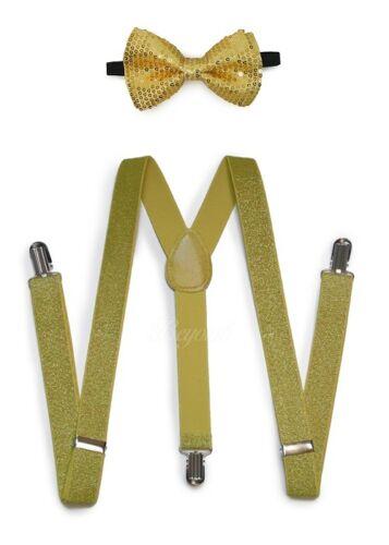 Gold Men Women Clip-on Suspender + Bow-tie All Glitter Sequin Combo Adjustable