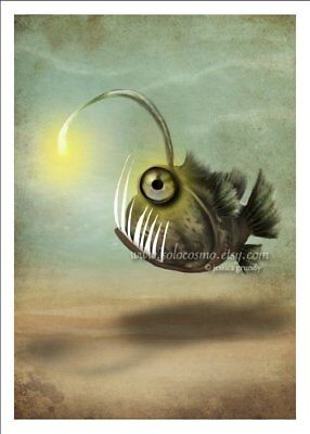 'Mr. Fishy on his Own' Angler Fish Deep Sea Creature Monster Lantern 5x7 - Fish Paper Lanterns