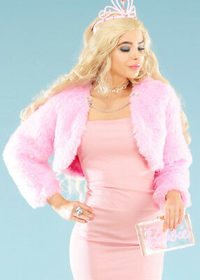 Womens Pink Barbie Style Pink Fluffy Jacket (Barbie Costume Womens)