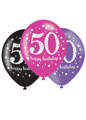 Pink and Black 50th Birthday Party Balloons Pk6 - Pink And Black Balloons