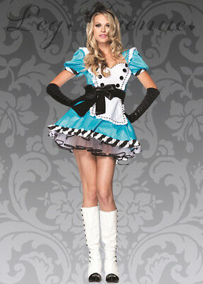 Leg Avenue Charming Alice in Wonderland Costume M/L Dress Blue White Gloves NEW
