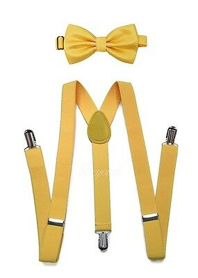 Yellow Suspender and Bow Tie Set for Teenagers Adults Men Women (USA Seller) - Yellow Bow Tie And Suspenders