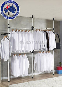 3 Poles 4 Bars Movable DIY Garment Rack Free Coat Hanger  Clothes Wardrobe