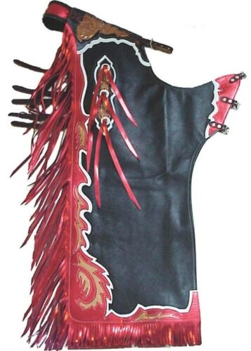 Western Black Top Grain Leather Leather Bull Riding Rodeo chaps/Matching Fringes