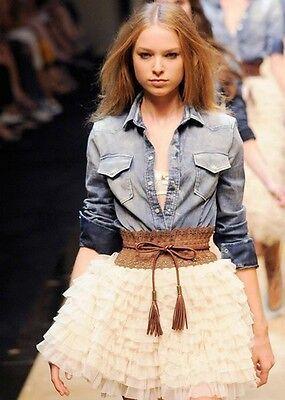 Womens Fashion Flower Tassels Elastic Stretch Corset Waistband Belt