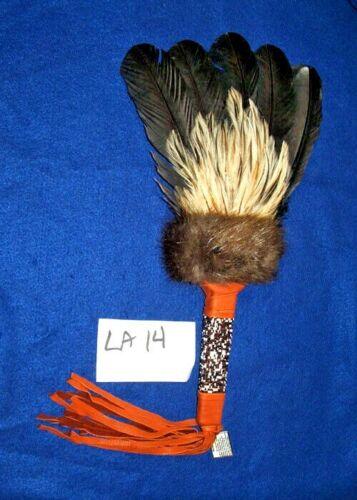 Lg Ceremonial Prayer Fan w/ Fur & Beadwork Wrap Native American made LA14
