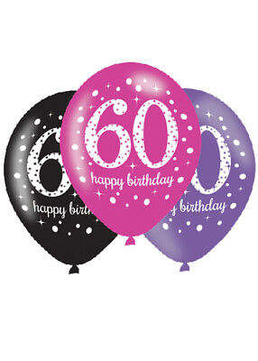 Pink and Black 60th Birthday Party Balloons Pk6 - Pink And Black Balloons