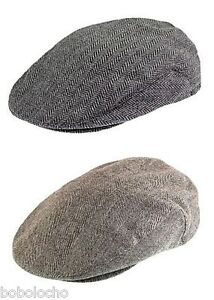 Black-or-Brown-Tweed-Herringbone-Flat-Cap-Mens-Wool-Hat-Tweed-XL-L-M-S-XS