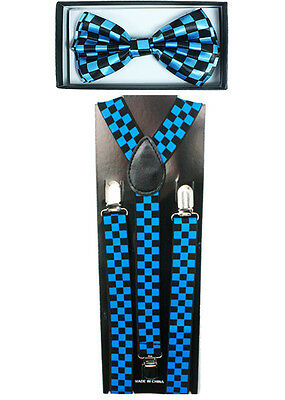 Checkered Blue SUSPENDERS and BOW TIE COMBO SET Unisex Adjustable Suspender
