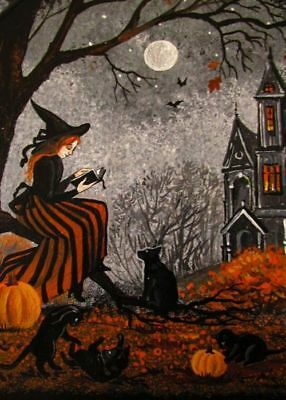5x7 PRINT OF PAINTING RYTA HALLOWEEN WITCH BLACK CAT VINTAGE STYLE FOLK ART