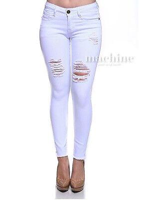 Machine Jeans White Destroyed w/ Raw Hem Skinny Women Denim NWT BN Plus Size