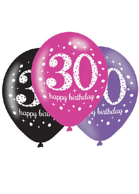 Pink and Black 30th Birthday Party Balloons Pk6 - Pink And Black Balloons