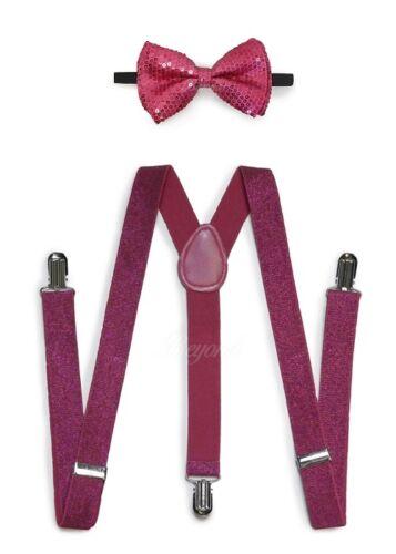 D-pink Men Women Clip-on Suspender + Bow-tie All Glitter Sequin Combo Adjustable