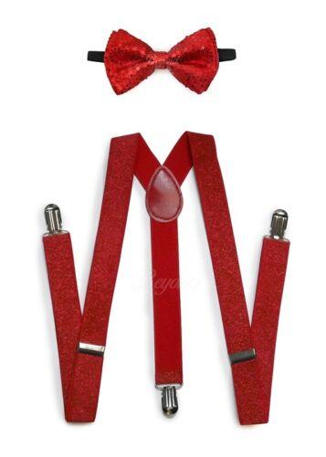 Red Men Women Clip-on Suspender + Bow-tie All Glitter Sequin Combo Adjustable