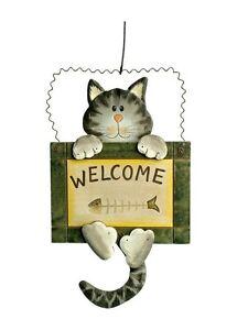 Dekoschild Katze Schild Welcome Türschild Willkommen Deko Tür Tier Katzenschild