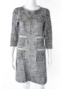LOUIS-VUITTON-Navy-Ivory-Marled-Frayed-Sweater-Cotton-Tussah-Silk-Dress-Sz-M