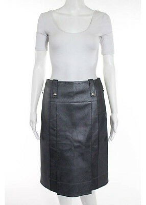 NWT LOUIS VUITTON Pewter Silver Lamb Leather A Line Pleated Skirt Sz FR 38