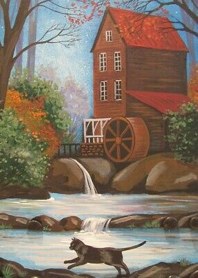 ACEO PRINT OF PAINTING RYTA BLACK CAT LANDSCAPE HALLOWEEN AUTUMN CIDAR MILL ART - Paintings Of Halloween