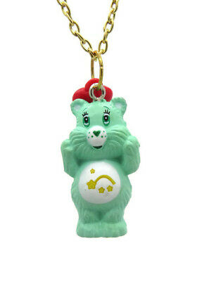 Kitsch Care Bear Wish Green Yellow Red Heart Charm Gold Chain (Green Care Bear)