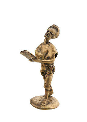 Statue Musician in Brass Player of Kalimba Art Bronze & African AA793