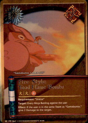 Naruto Fire Style: Toad Flame Bombs J-195 Super Rare Card Near Mint