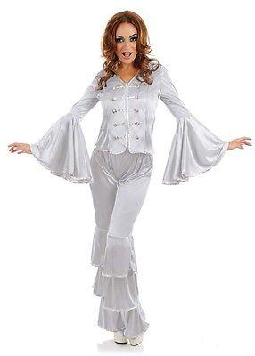 Damen Silber Dancing Queen 1970s 70s Kostüm Kleid Outfit 8-26 - Übergröße Queen Kostüm