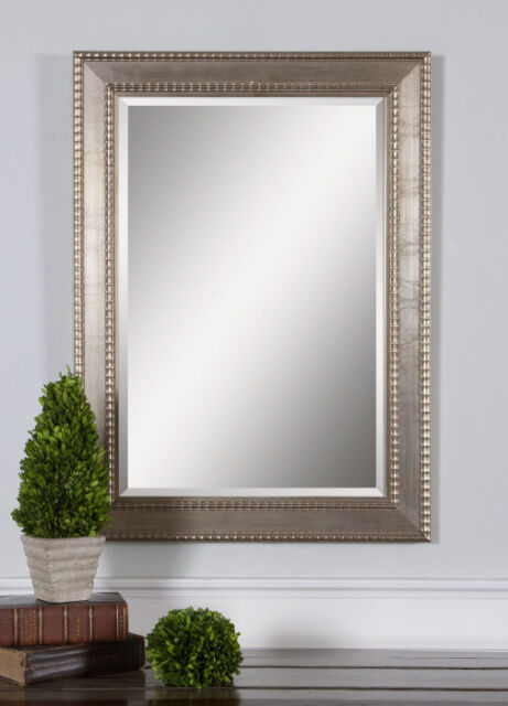 Large Silver Wall Mirror large silver champagne beaded rectangular beveled almena vanity