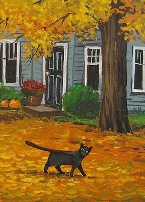 ACEO PRINT OF PAINTING RYTA HALLOWEEN GOLDEN AUTUMN FALL LANDSCAPE BLACK CAT ART - Paintings Of Halloween