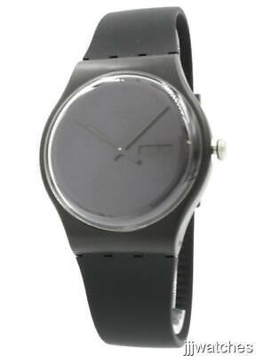 New Swatch Swiss Originals Men Black Rebel Rubber Date Watch 40mm SUOB702 $80