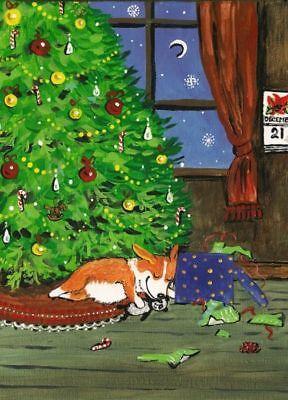 Pembroke Welsh Corgi Christmas Tree - ACEO PRINT OF PAINTING PEMBROKE WELSH CORGI FOLK RYTA XMAS TREE TOY PANDA GIFT